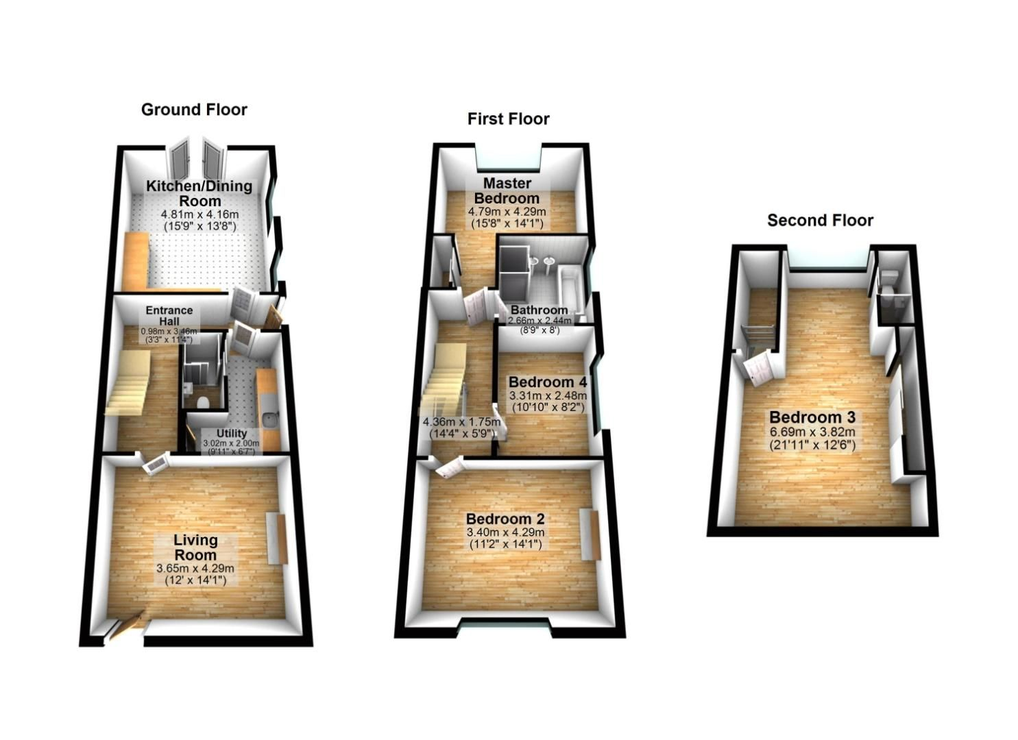 4 bed semi-detached for sale in Upland Grove, Bromsgrove, B61 - Property Floorplan
