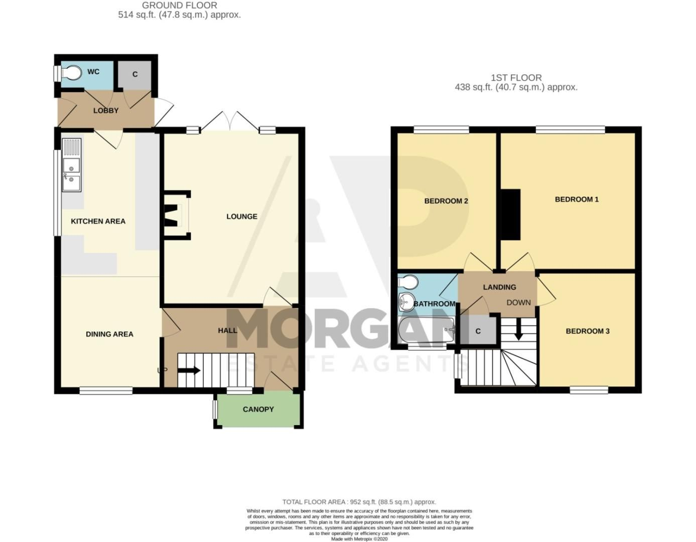 3 bed semi-detached for sale in Princes Road, Norton, Stourbridge - Property Floorplan
