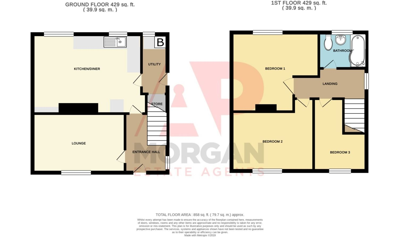 3 bed semi-detached for sale in Dobbins Oak Road, Wollescote - Property Floorplan