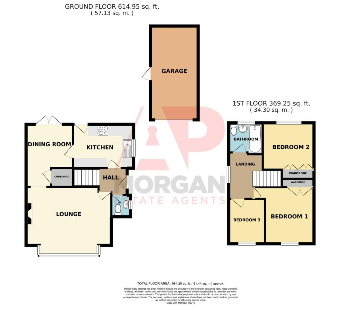 3 bed detached for sale in Avon Close, Stoke Heath, Bromsgrove, B60 - Property Floorplan