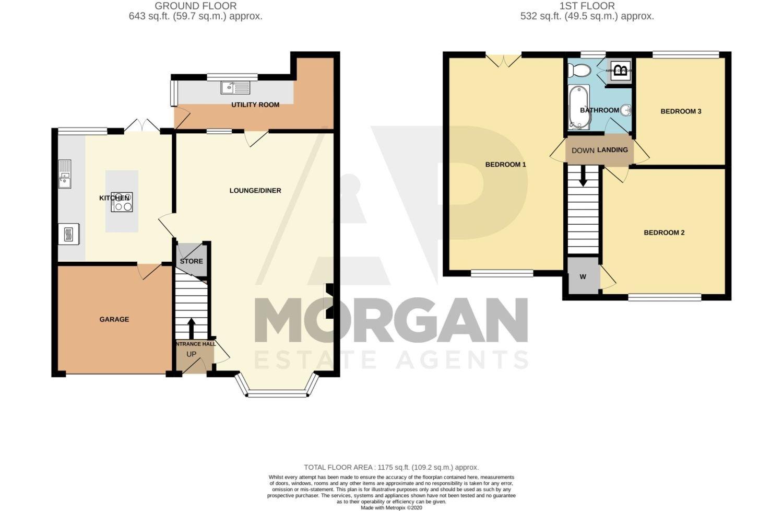 3 bed semi-detached for sale in Butchers Lane, Halesowen - Property Floorplan