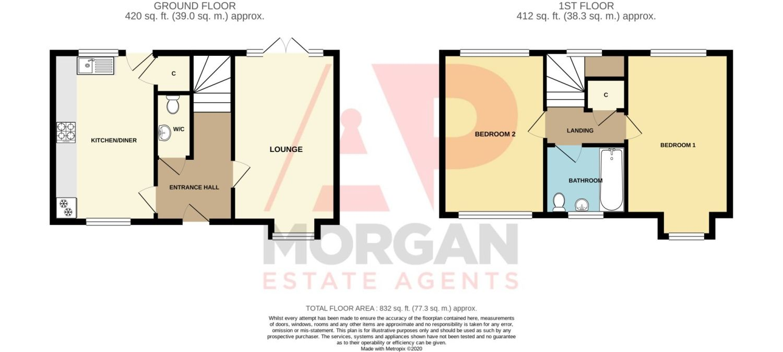 2 bed semi-detached for sale in Blakeney Drive, Bromsgrove - Property Floorplan