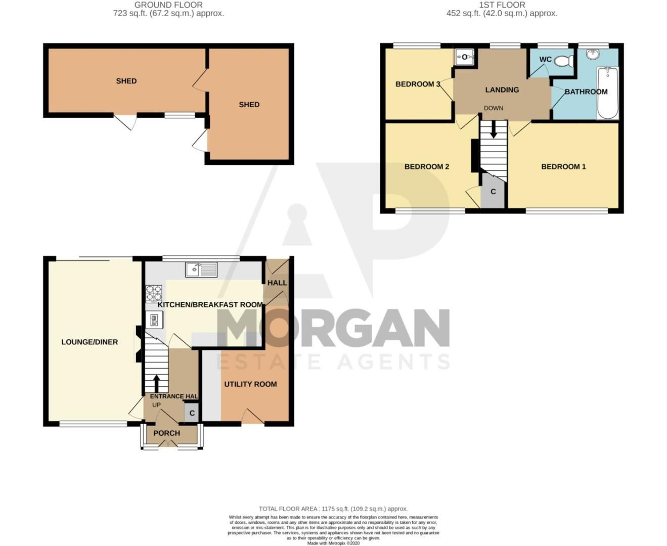 3 bed terraced for sale in Waverley Crescent, Romsley - Property Floorplan