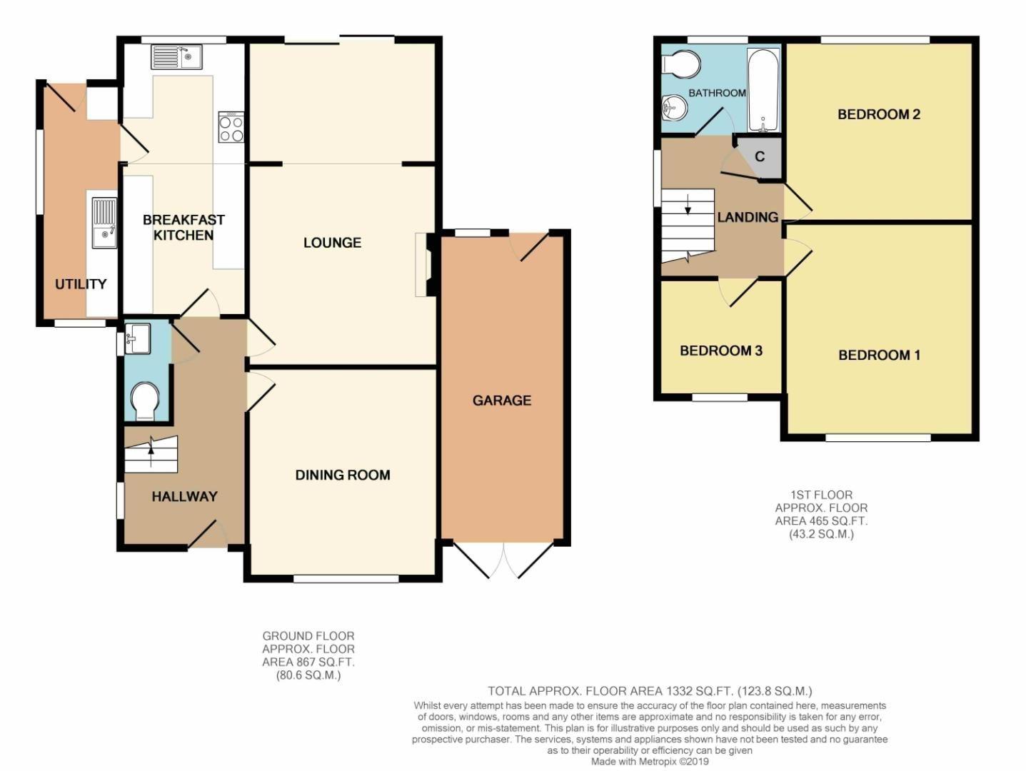 3 bed detached for sale in Fox Lane, Bromsgrove - Property Floorplan