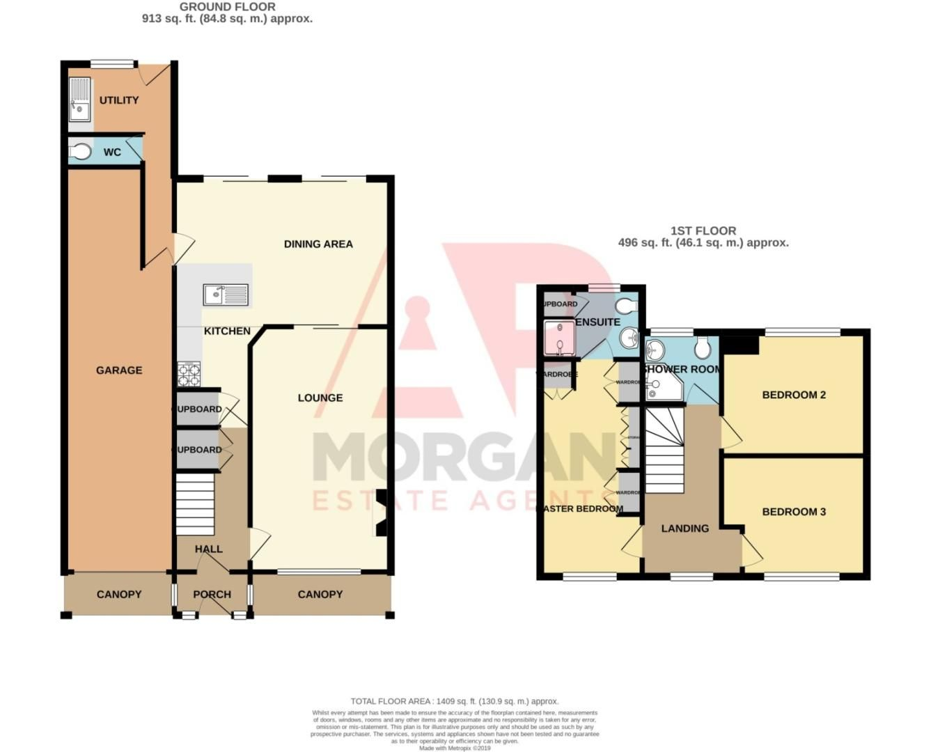 3 bed semi-detached for sale in Cheswick Close, Winyates Green - Property Floorplan