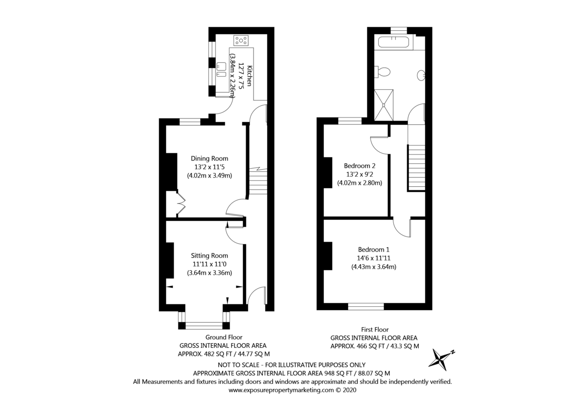 2 bed house for sale in Stutton Road, Tadcaster - Property Floorplan
