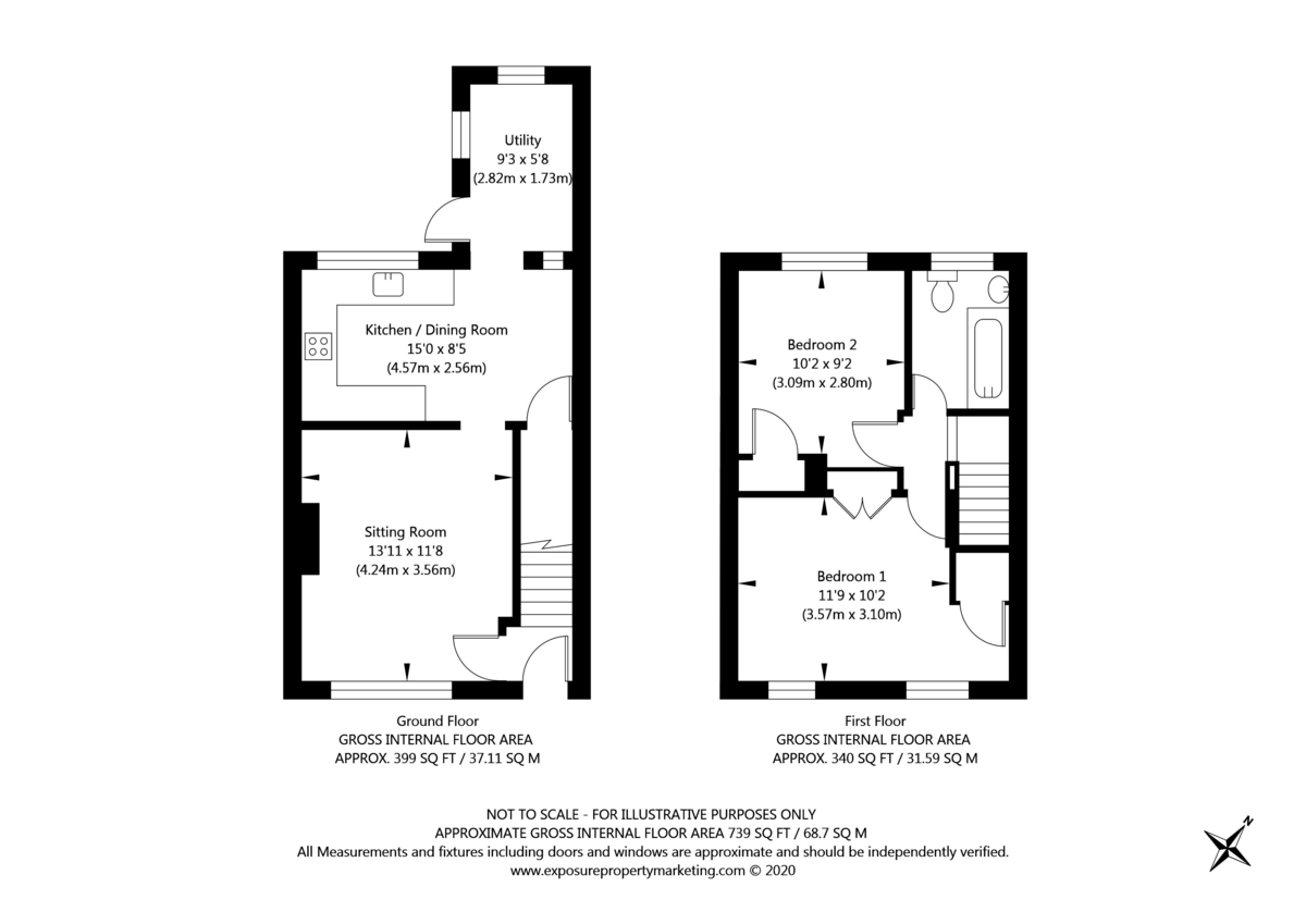 2 bed house for sale in Lowfields Drive, York - Property Floorplan
