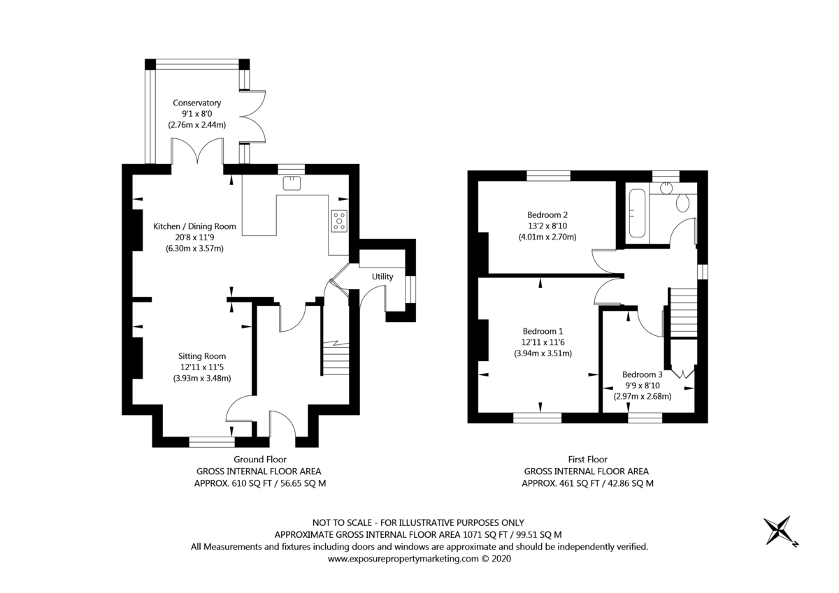 3 bed house for sale in Wharfedale Crescent, Tadcaster - Property Floorplan