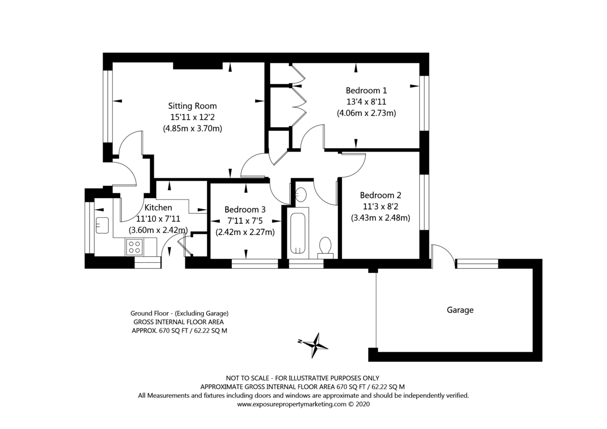 3 bed bungalow for sale - Property Floorplan
