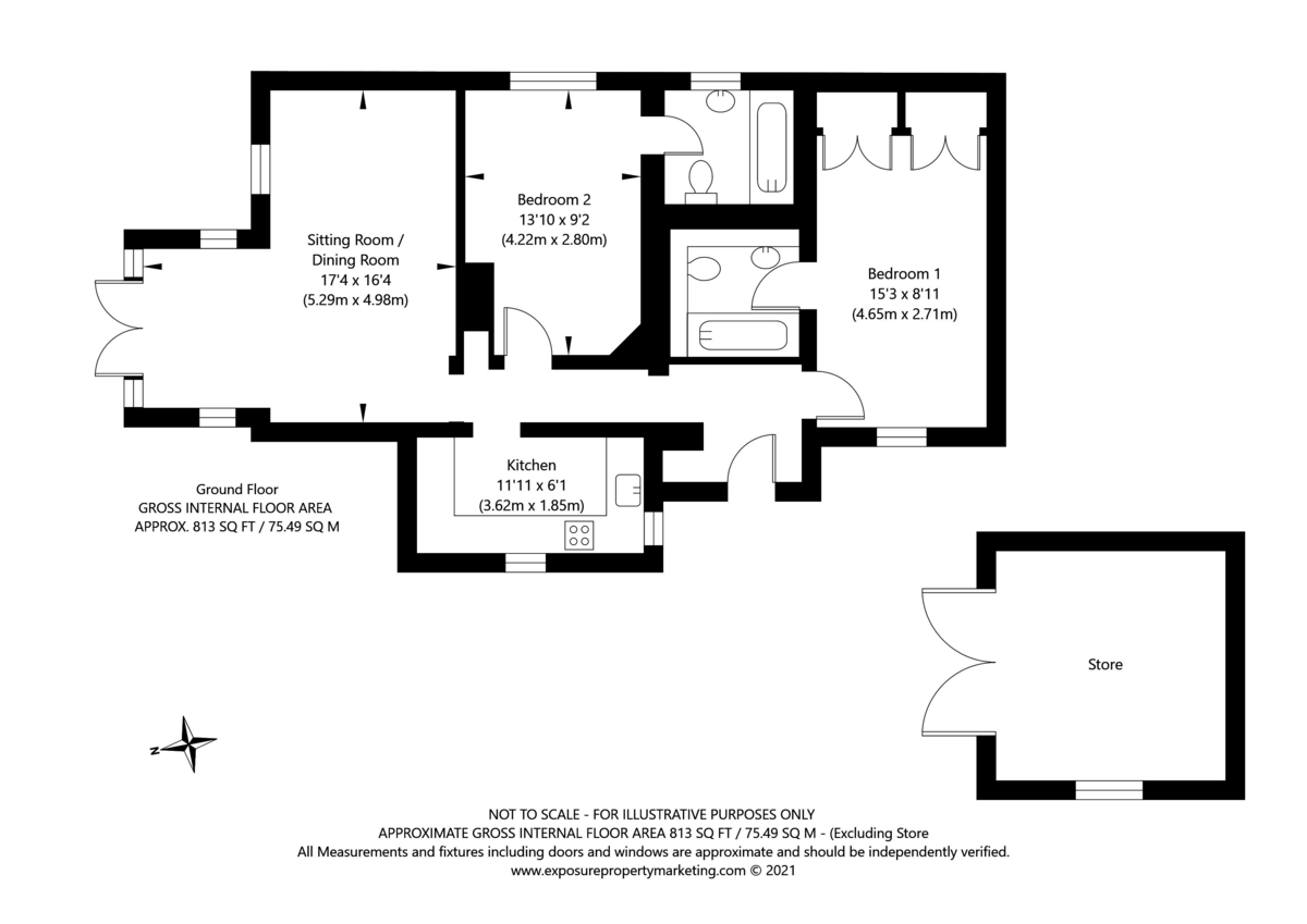2 bed bungalow for sale in Middlethorpe Grove, York - Property Floorplan