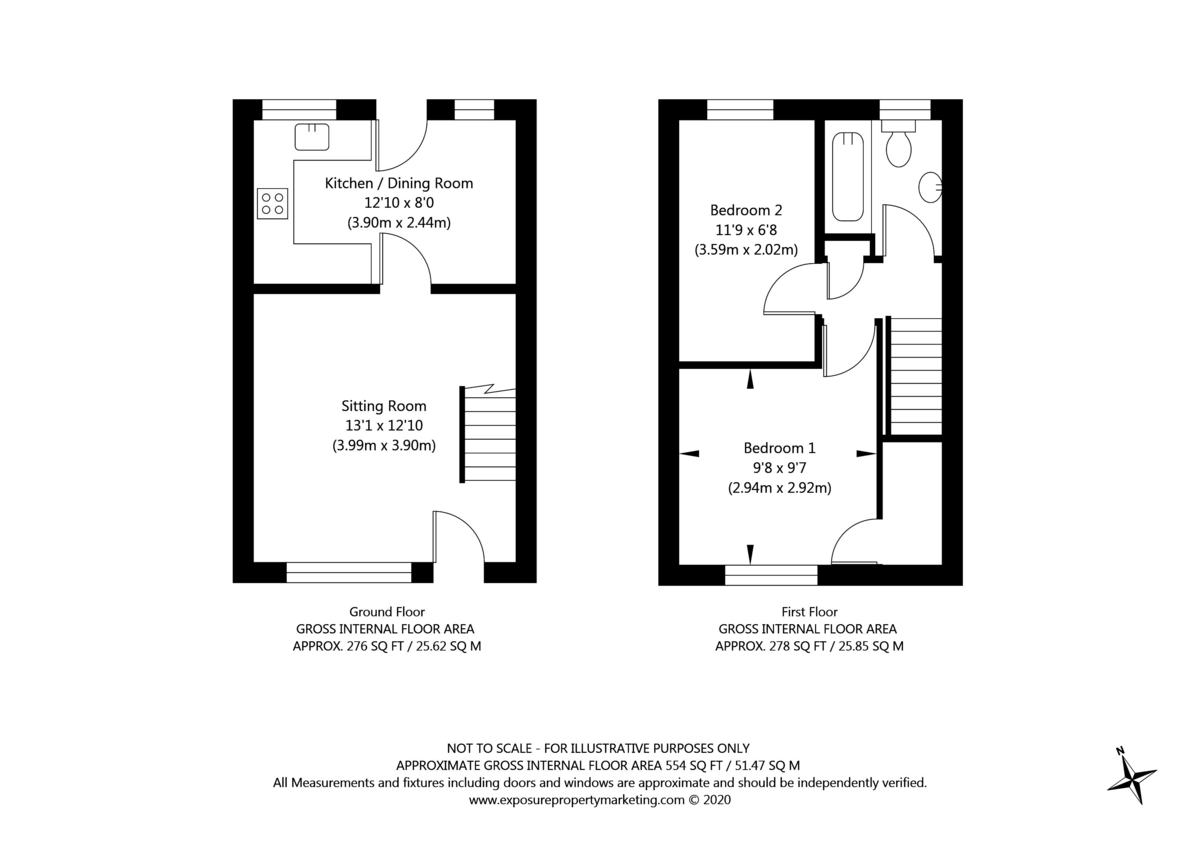 2 bed house for sale - Property Floorplan