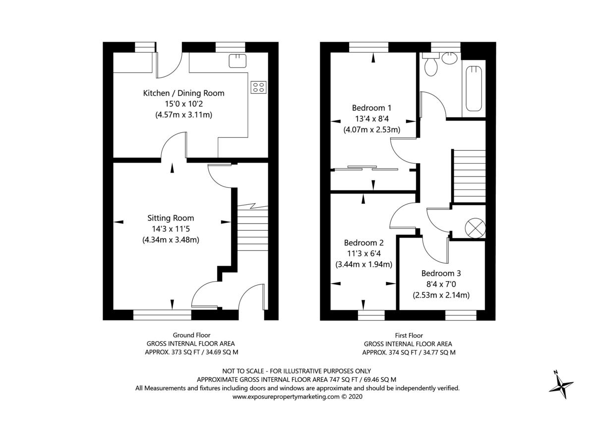 3 bed house for sale in Moorland Gardens, Copmanthorpe, York - Property Floorplan