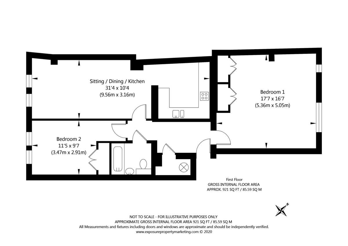 2 bed flat for sale in Talbot Court, Low Petergate, York - Property Floorplan