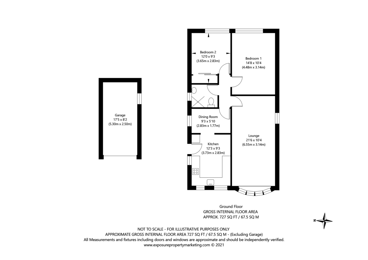 2 bed bungalow for sale in Potters Drive, Copmanthorpe, York - Property Floorplan