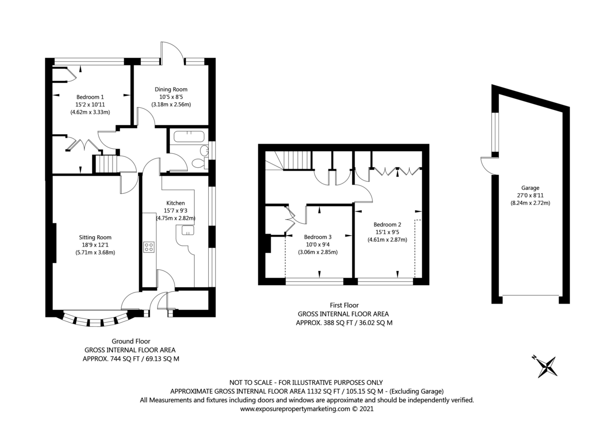 3 bed house for sale in Beech Avenue, Bishopthorpe, York - Property Floorplan