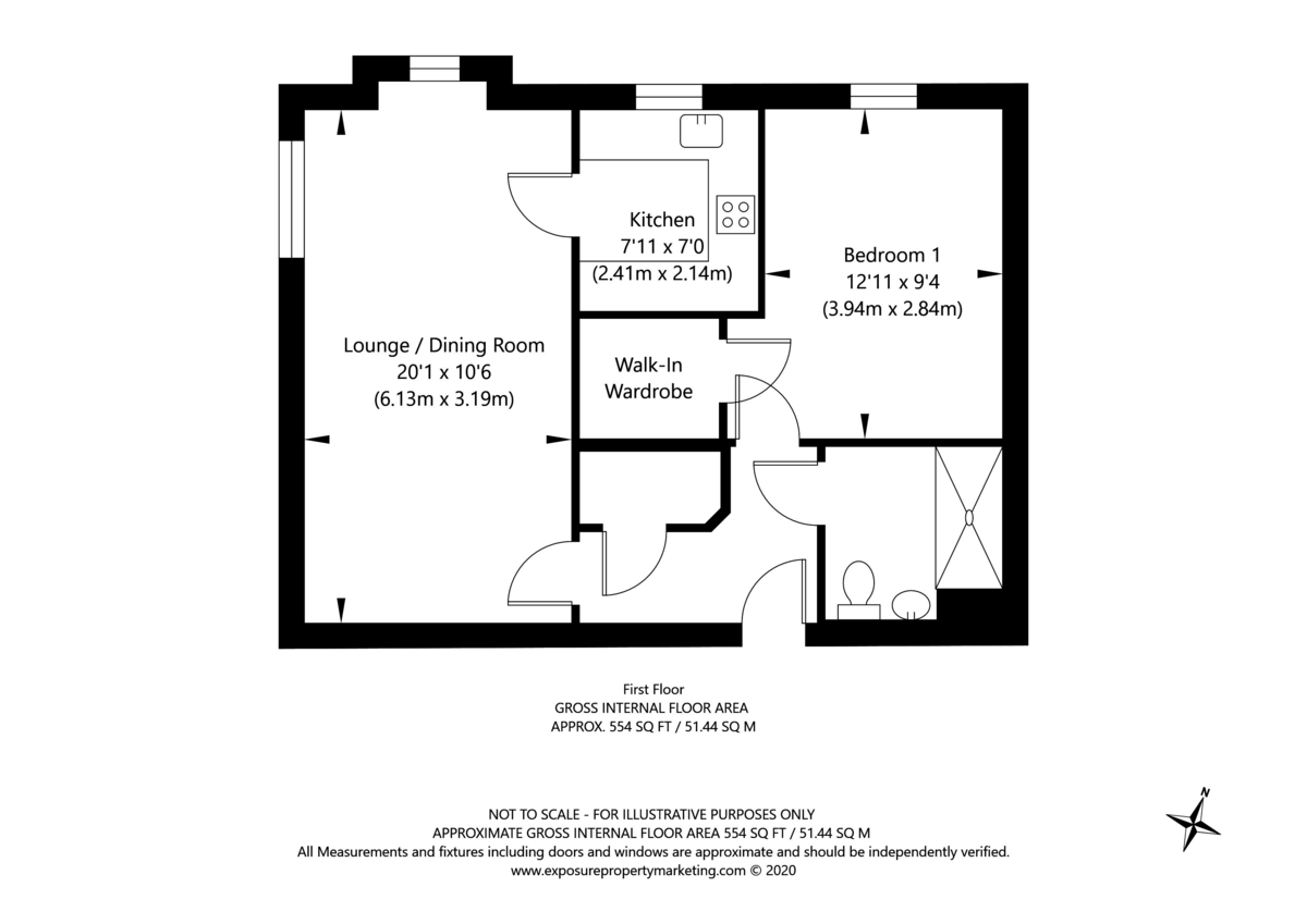 1 bed flat for sale in Smithson Court, Top Lane, Copmanthorpe, York - Property Floorplan