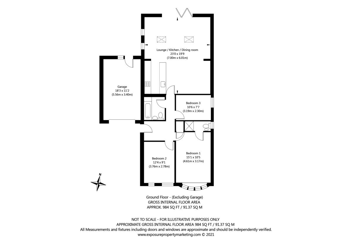 3 bed bungalow for sale in Wheatfield Lane, Haxby, York - Property Floorplan
