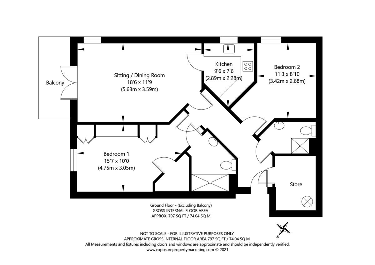 2 bed flat for sale in Smithson Court, Top Lane, Copmanthorpe - Property Floorplan