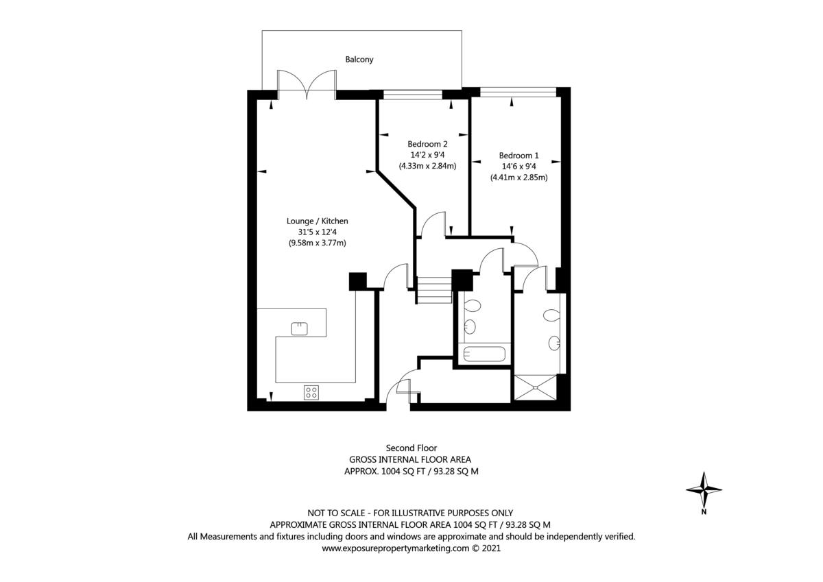 2 bed flat for sale in The Residence, Bishopthorpe Road, York - Property Floorplan