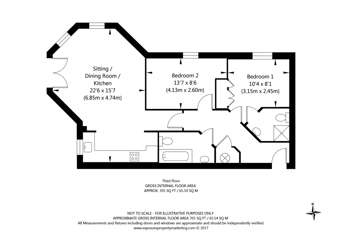 2 bed flat for sale in Scholars Court, Principal Rise, Dringhouses, York - Property Floorplan