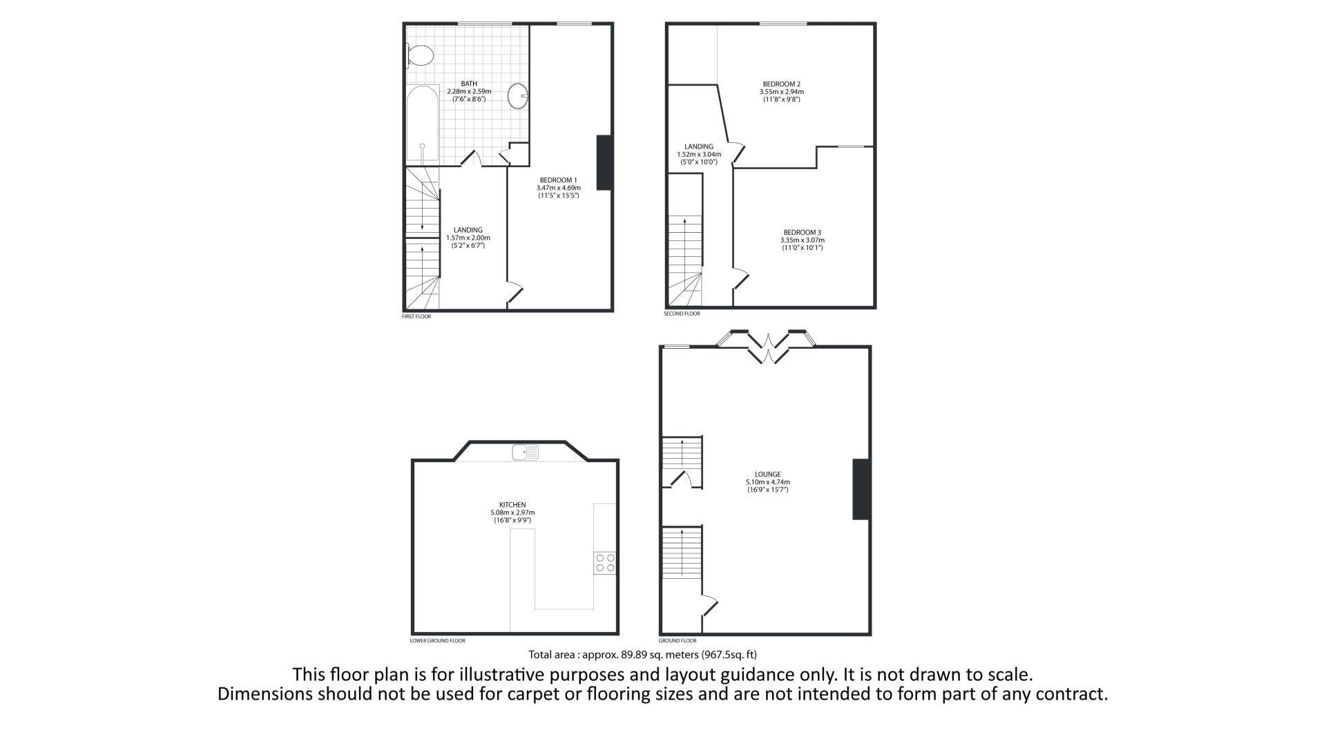 3 bed house for sale in Woodville Street - Property Floorplan