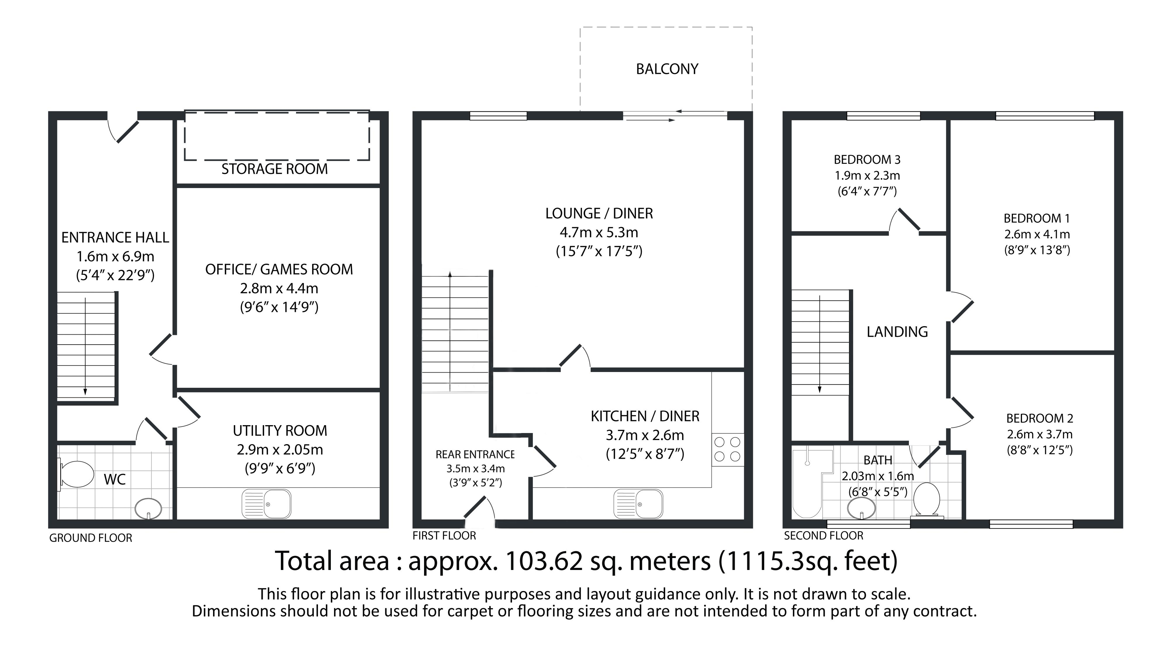 3 bed house for sale in Aislaby Heights - Property Floorplan