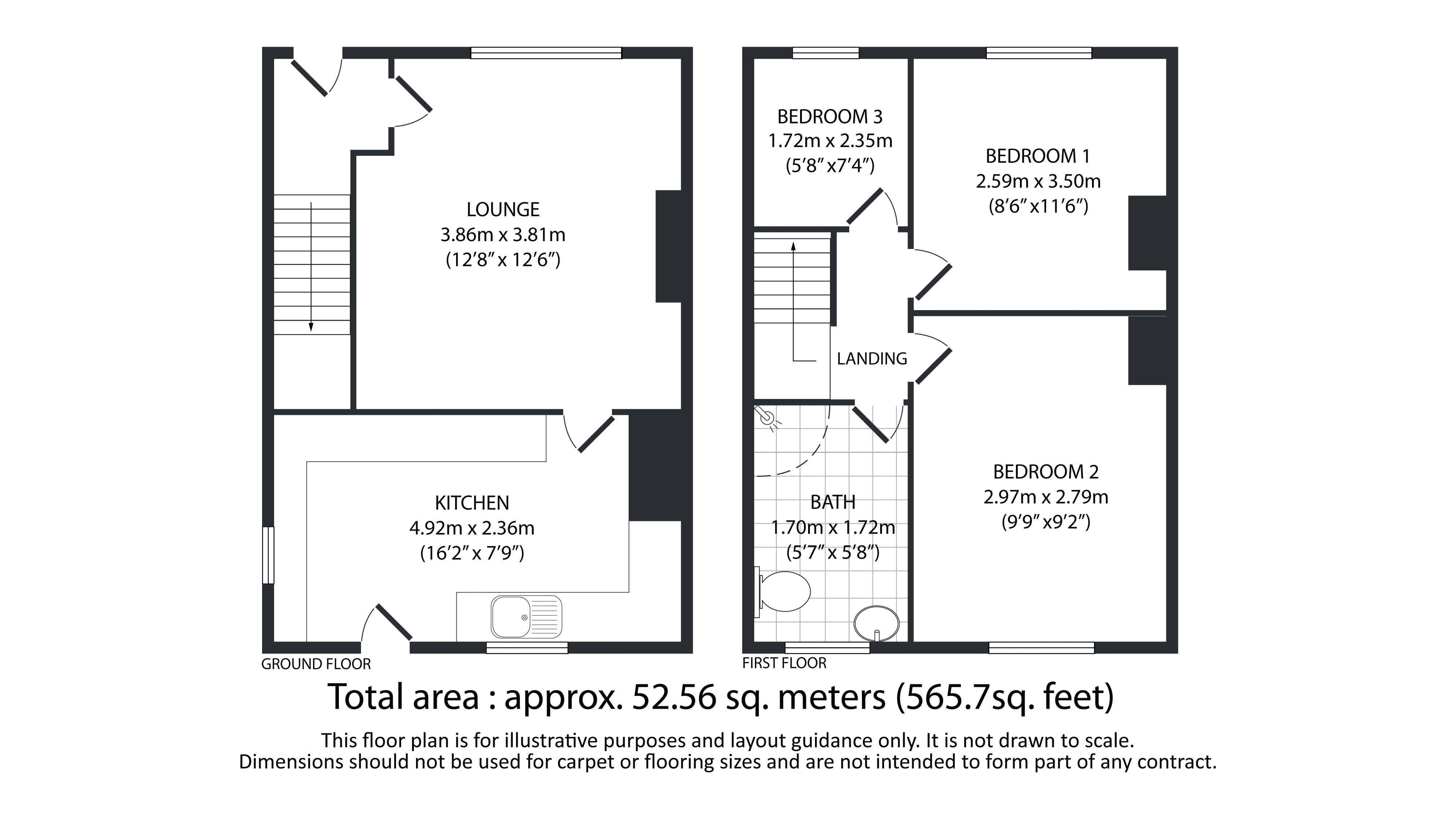 3 bed house for sale in Torre Crescent - Property Floorplan