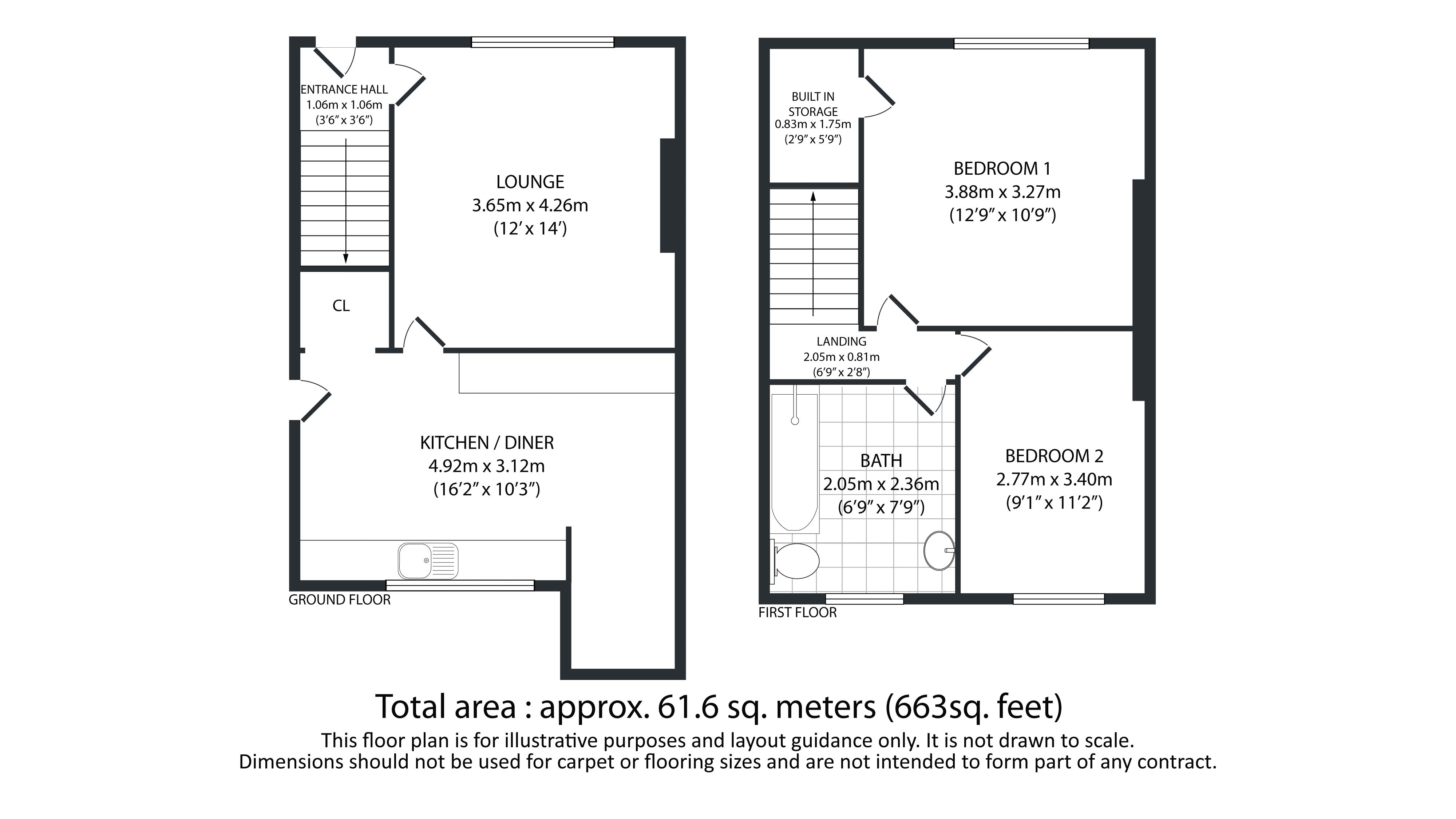 2 bed house for sale in Richmond Avenue - Property Floorplan
