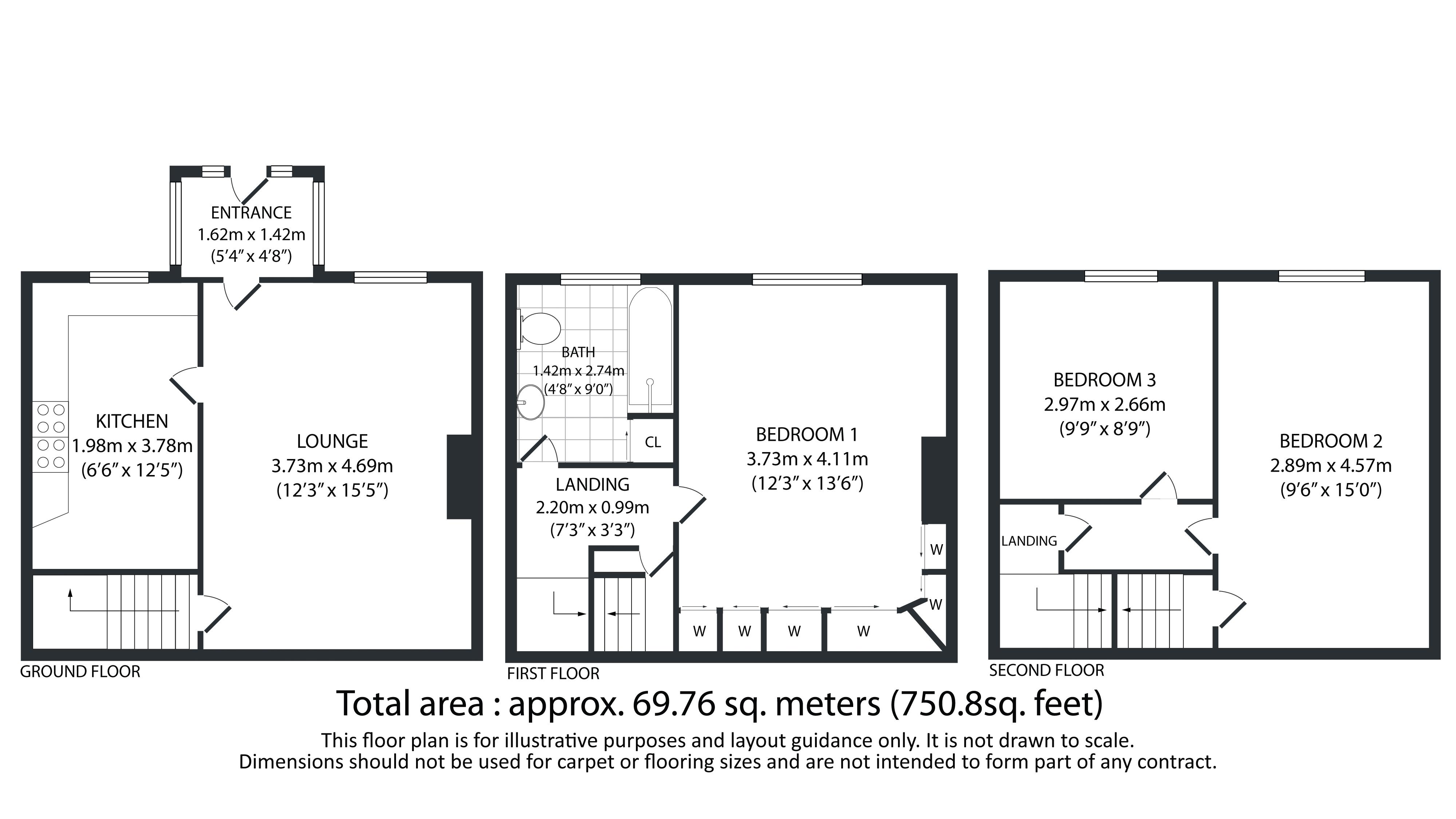 3 bed house for sale in Bell Hall Terrace - Property Floorplan