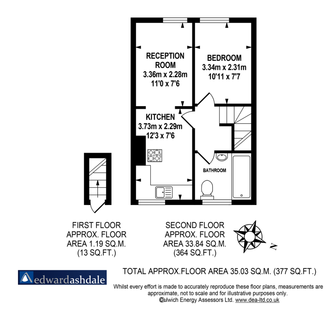 1 bed flat to rent in Norwood Road, Tulse Hill - Property Floorplan
