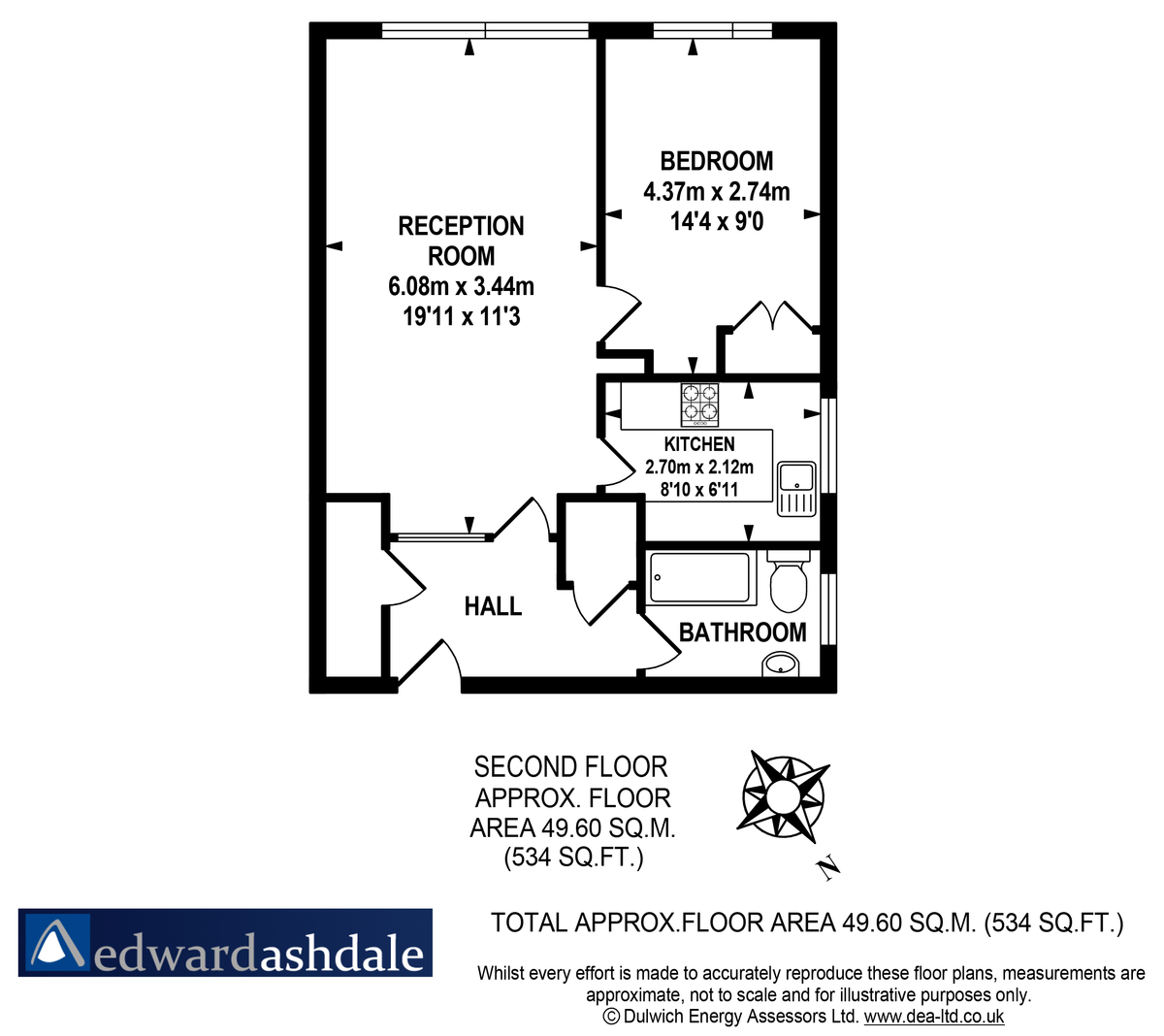 1 bed flat to rent in Russel Court - Property Floorplan