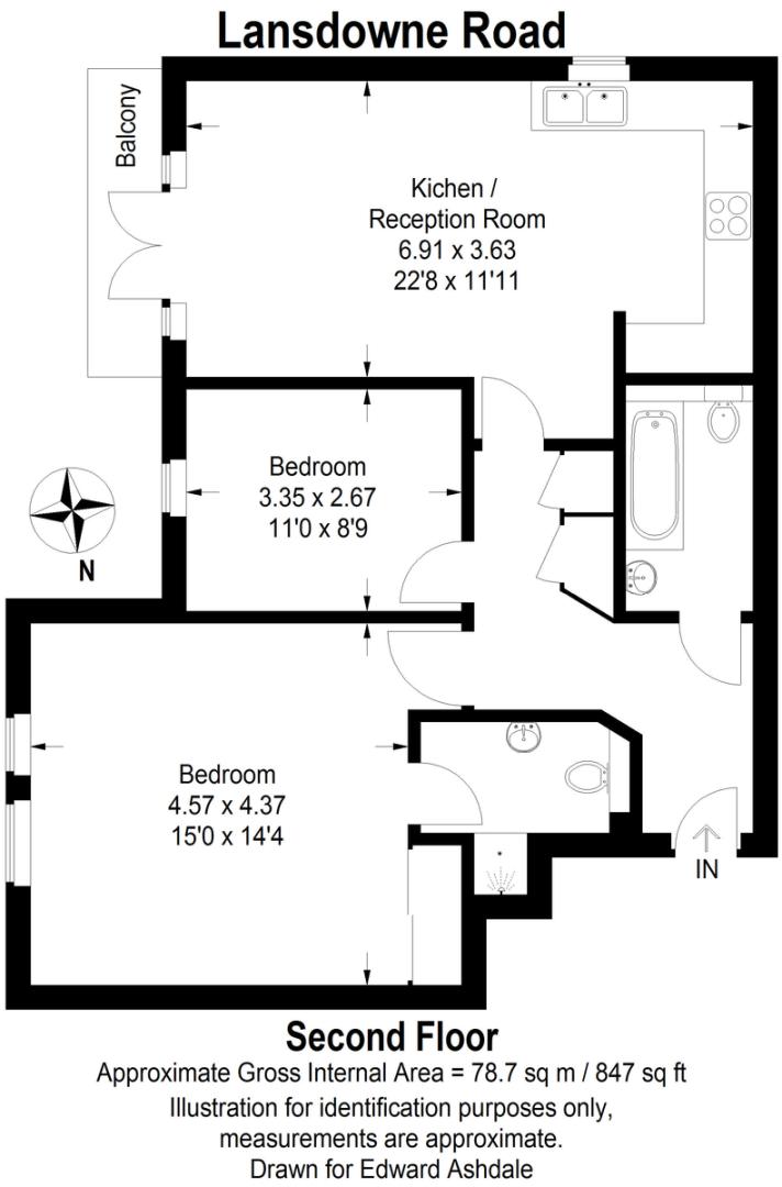 2 bed flat to rent in Lansdowne Road, Bromley - Property Floorplan