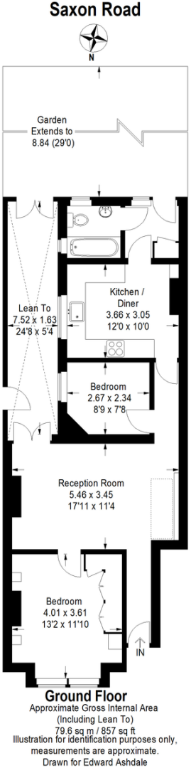 2 bed flat for sale in Saxon Road, Bromley - Property Floorplan