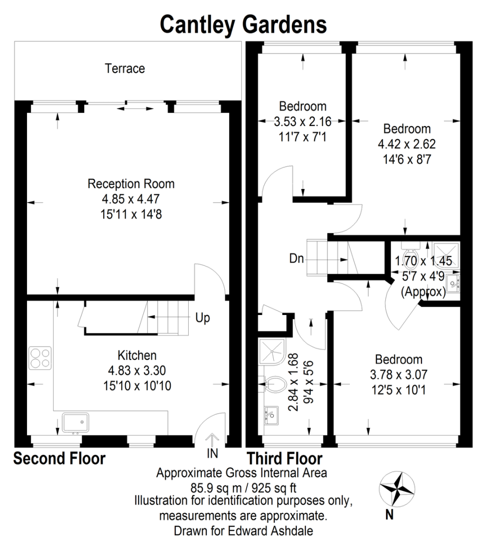 3 bed flat to rent in Cantley Gardens - Property Floorplan