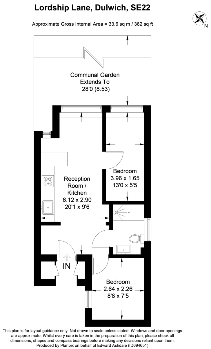 1 bed flat to rent in Lordship Lane, Dulwich, London - Property Floorplan