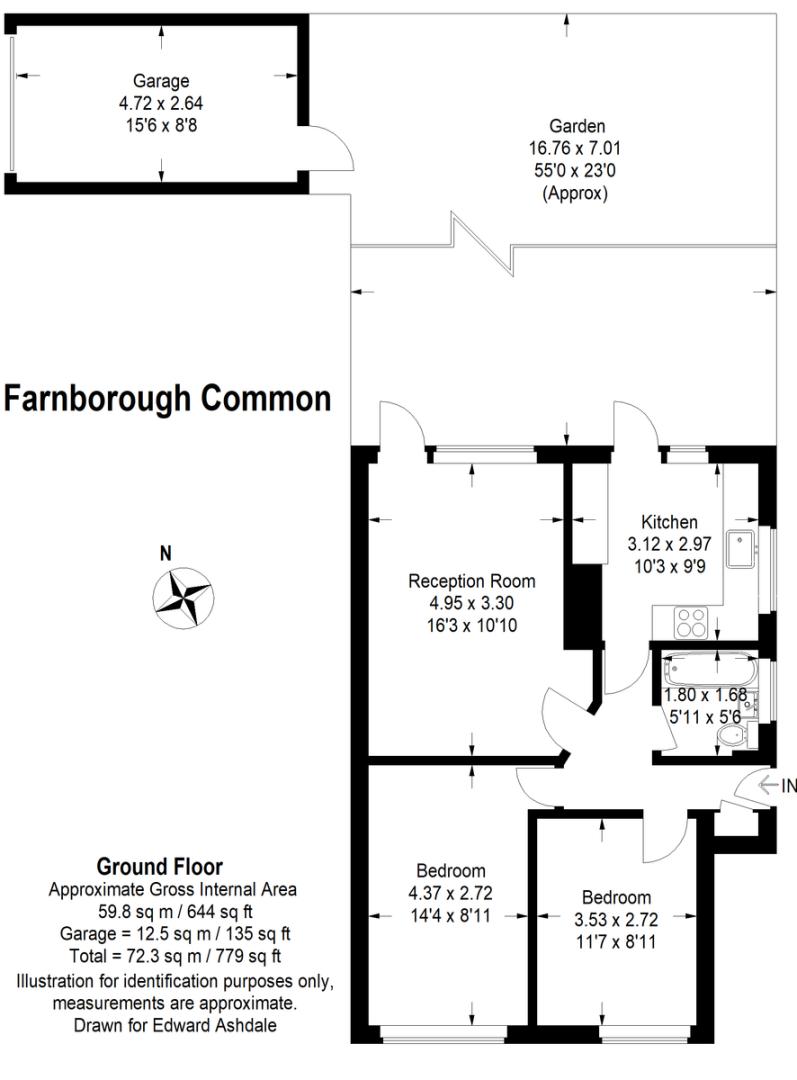 2 bed flat for sale in Farnborough Common, Locksbottom - Property Floorplan