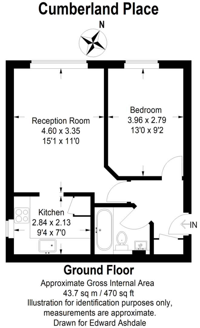 1 bed flat for sale in Cumberland Place - Property Floorplan