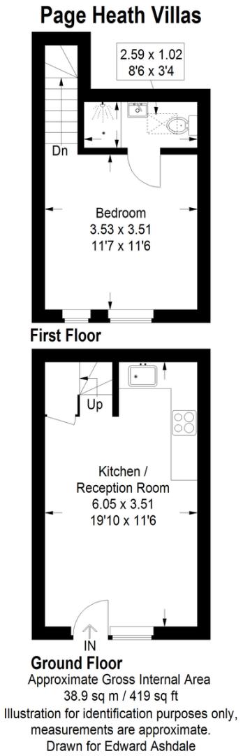 1 bed flat for sale in Page Heath Villas - Property Floorplan