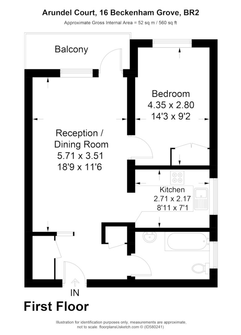 1 bed flat for sale in Beckenham Grove, Bromley - Property Floorplan