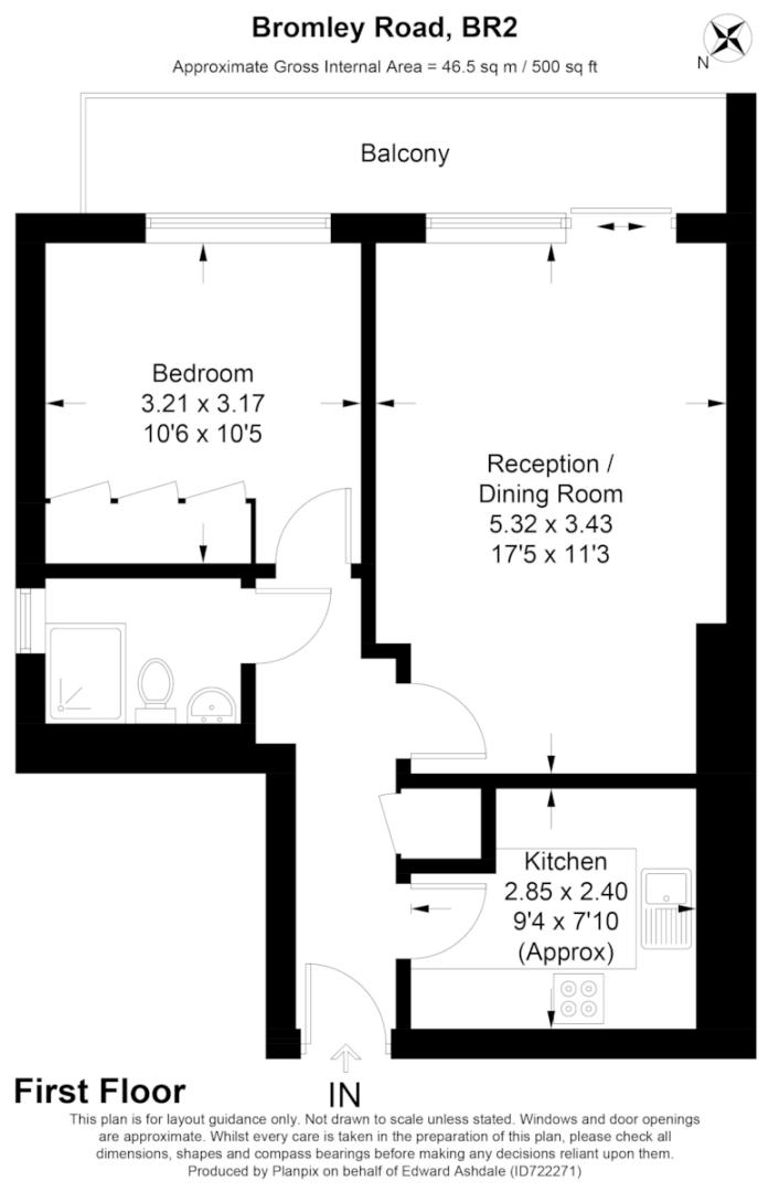 1 bed flat for sale in Bromley Road, Shortlands - Property Floorplan