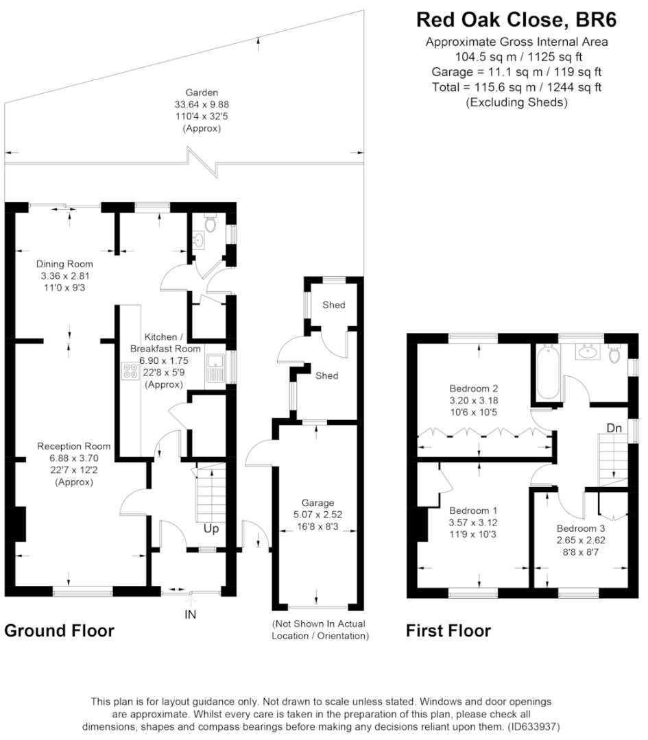 3 bed house for sale in Red Oak Close, Locksbottom - Property Floorplan