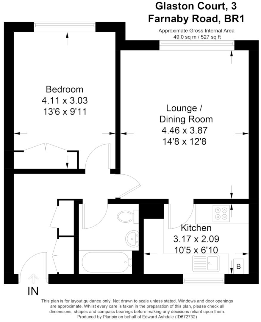 1 bed flat for sale in Farnaby Road, Shortlands - Property Floorplan