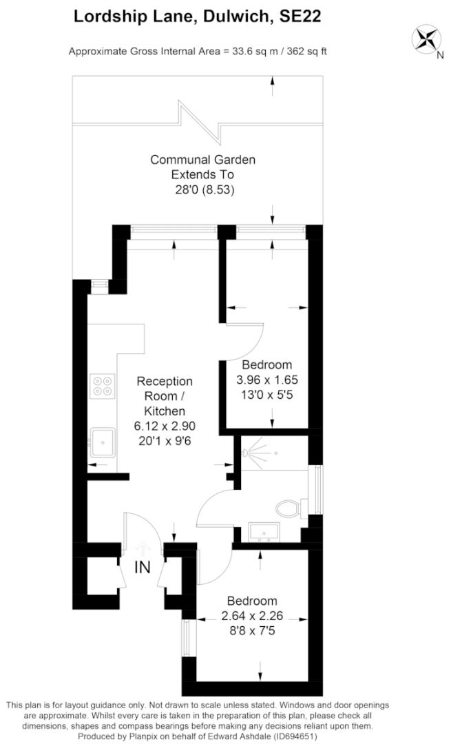 2 bed flat for sale in Lordship Lane, London - Property Floorplan