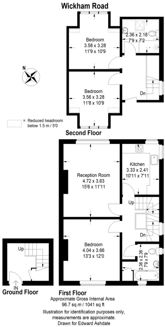 3 bed flat to rent in Wickham Road - Property Floorplan