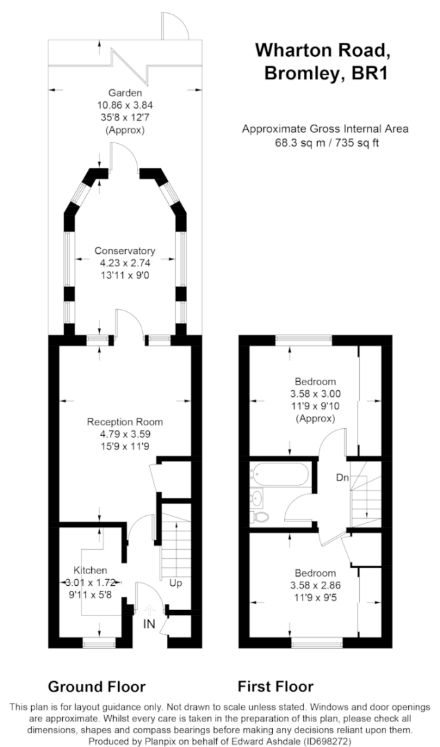 2 bed house to rent in Wharton Road, Bromley - Property Floorplan