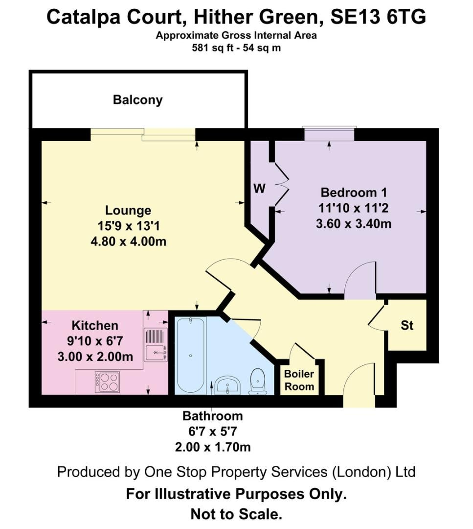 1 bed flat for sale in Catalpa Court , London - Property Floorplan