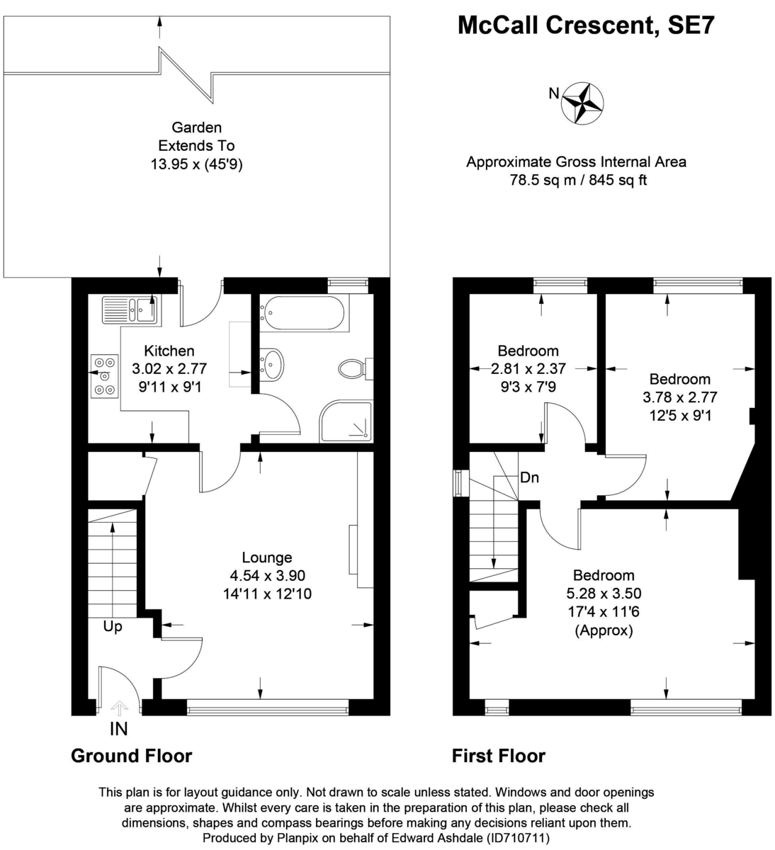3 bed house for sale in McCall Crescent - Property Floorplan