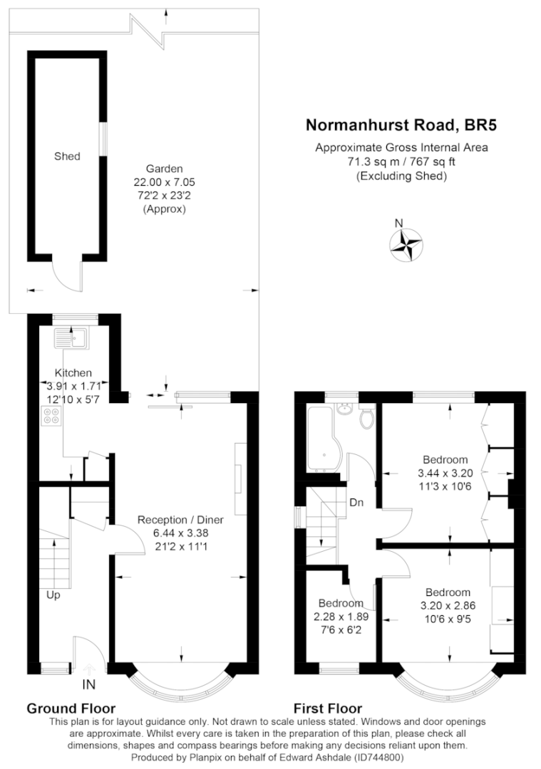 3 bed house for sale in Normanhurst Road - Property Floorplan
