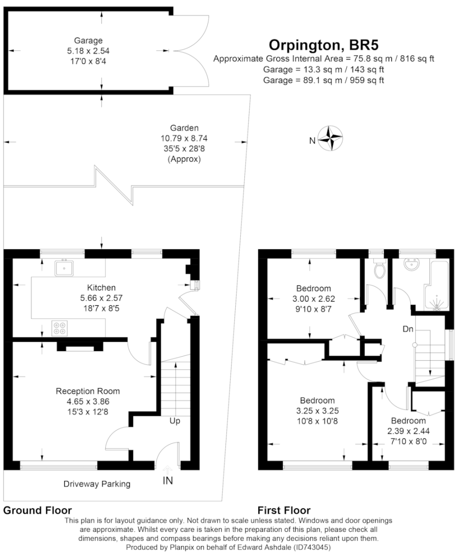 3 bed house for sale in Batchwood Green, Orpington - Property Floorplan