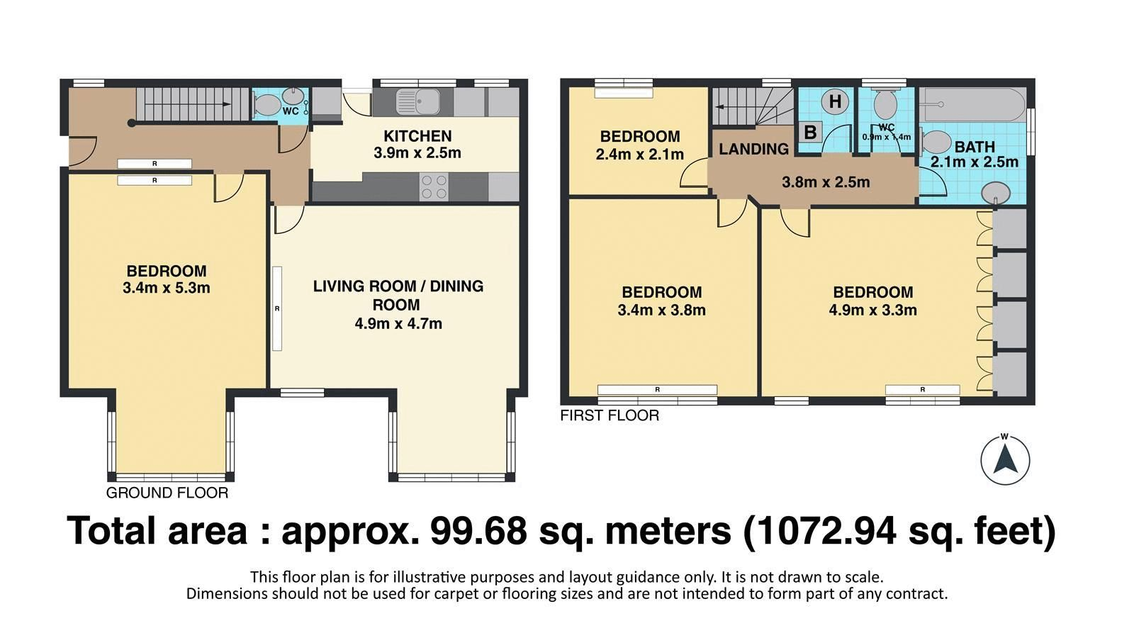 3 bed house for sale in Nork Way - Property Floorplan